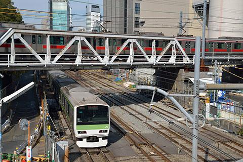 JRと東横線との立体交差